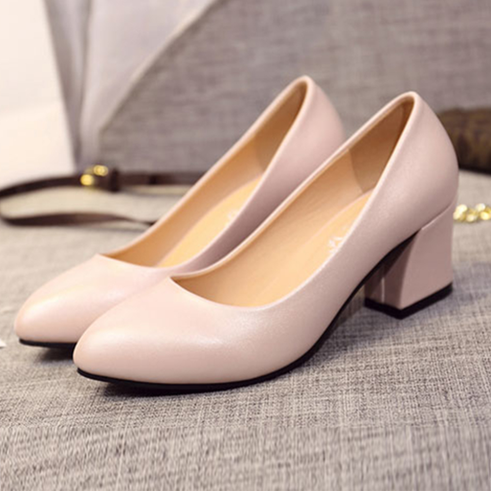 KEITH-WILL時尚鞋館 舒適通勤亮面百搭尖頭跟鞋-粉色