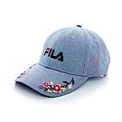 FILA 復古花漾 LOGO 帽-藍 HTT-1104-BU