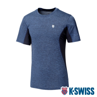 K-SWISS Neon Logo Tee涼感排汗T恤-男-藍