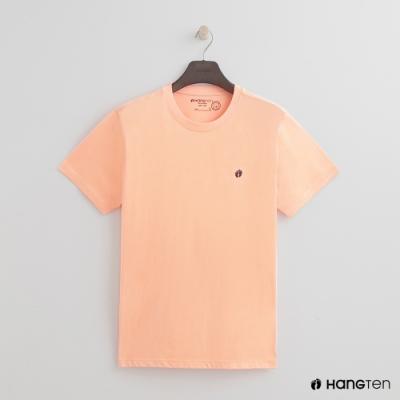 Hang Ten - 男裝 - 有機棉-圓領純色T恤 - 粉橘