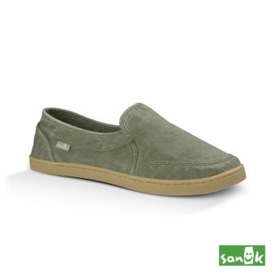 SANUK 女款 US5 復古水洗帆布休閒鞋(草綠色)
