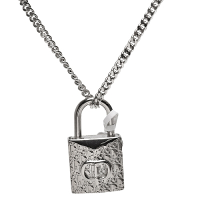 DIOR 經典OBLIQUE系列CD LOGO鎖頭造型墜飾項鍊(銀)