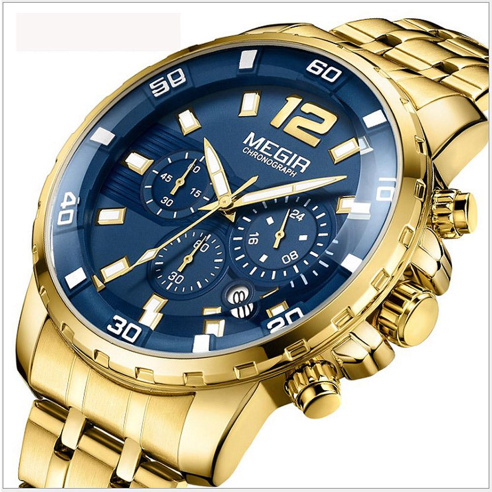 美國熊 光芒外露 運動款 三眼計時 日期窗 鋼錶帶石英機芯腕錶