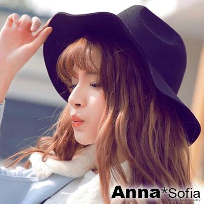 【滿688打75折】AnnaSofia 簡約素面 純羊毛寬簷紳士帽禮帽(酷黑)