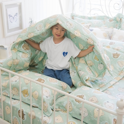 OLIVIA  寶貝熊 綠  標準單人床包夏日涼被三件組  200織精梳純棉 台灣製