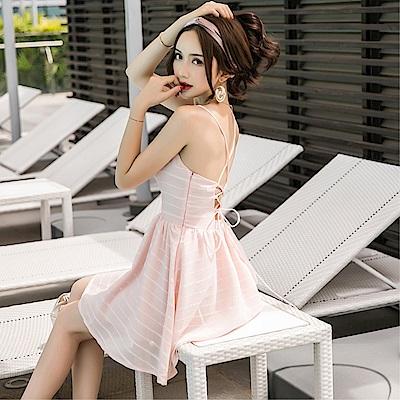 DABI 韓國風海邊度假裙沙灘顯瘦v領露背系帶無袖洋裝