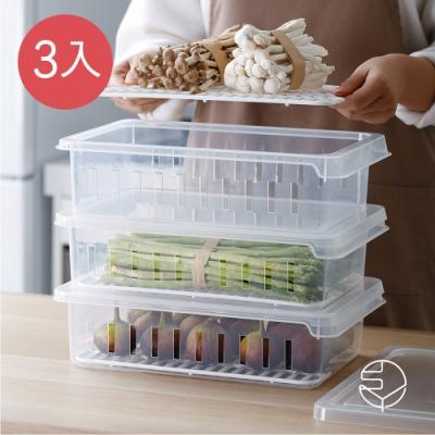 日本霜山 可疊式冰箱生鮮/蔬果冷藏冷凍保鮮盒-3入