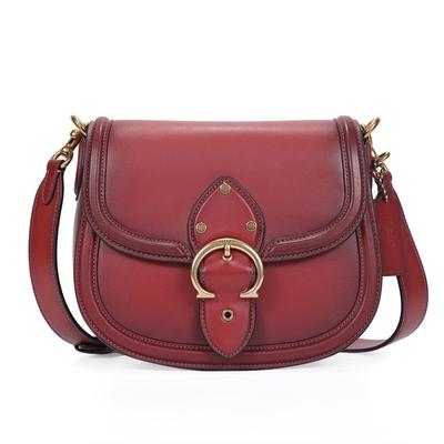 COACH BEAT SADDLE 質感素面鞣製皮革斜背馬鞍包-紅棕色