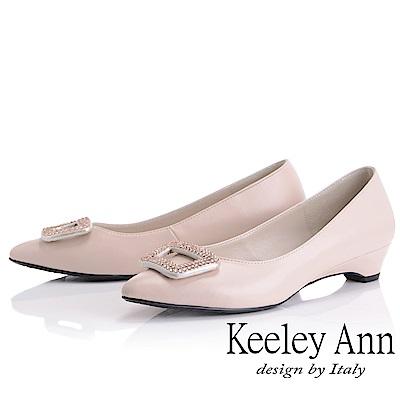 Keeley Ann 方飾水鑽素色低跟鞋(粉紅色)