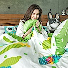 戀家小舖 / 雙人床包兩用被組  遇見朵朵-兩色可選  100%精梳棉  台灣製