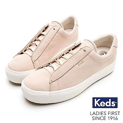 Keds RISE METRO 內增高牛巴戈綁帶休閒鞋-膚粉