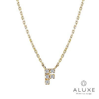A-LUXE 亞立詩 Alphabet系列10K鑽石項鍊-F