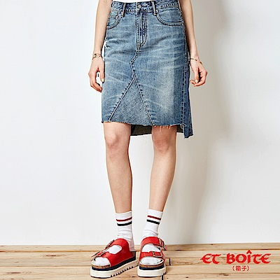 ETBOITE 箱子 BLUE WAY 激光剪接牛仔及膝裙