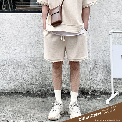 DITION 韓系抽鬚oversize短棉褲 反車線不修邊 運動短褲 情侶裝 男女可穿 機能抽繩