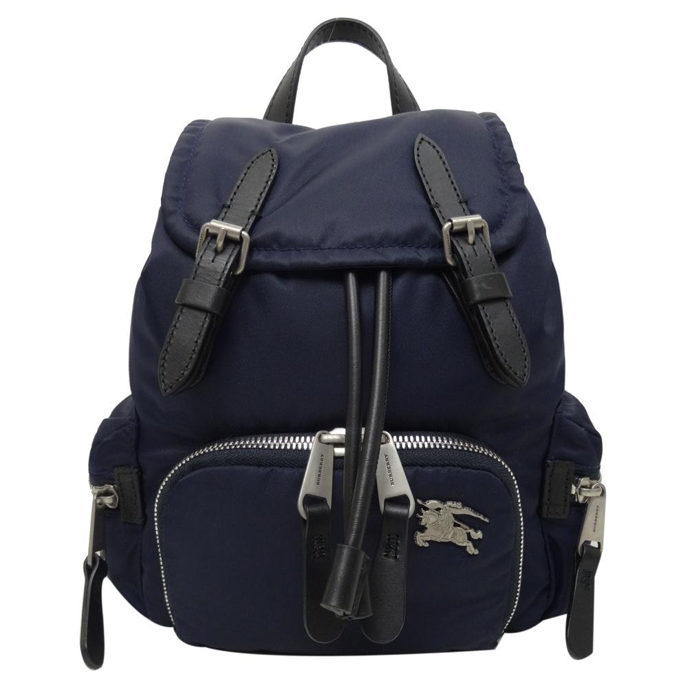 BURBERRY 戰馬LOGO鋪棉尼龍小型後背包(藍色)
