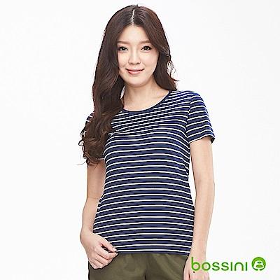 bossini女裝-條紋彈性圓領T恤01海軍藍