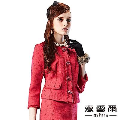 【麥雪爾】圓領開襟流蘇裝飾七分袖外套