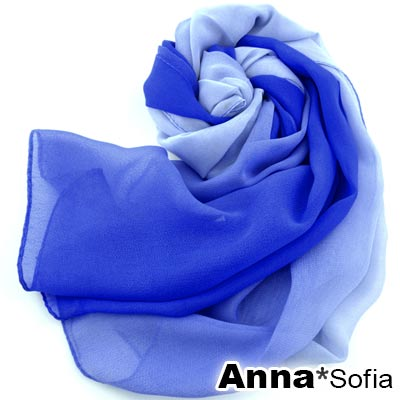 AnnaSofia 漸層幻色 雪紡圍巾長絲巾(深淺藍系)