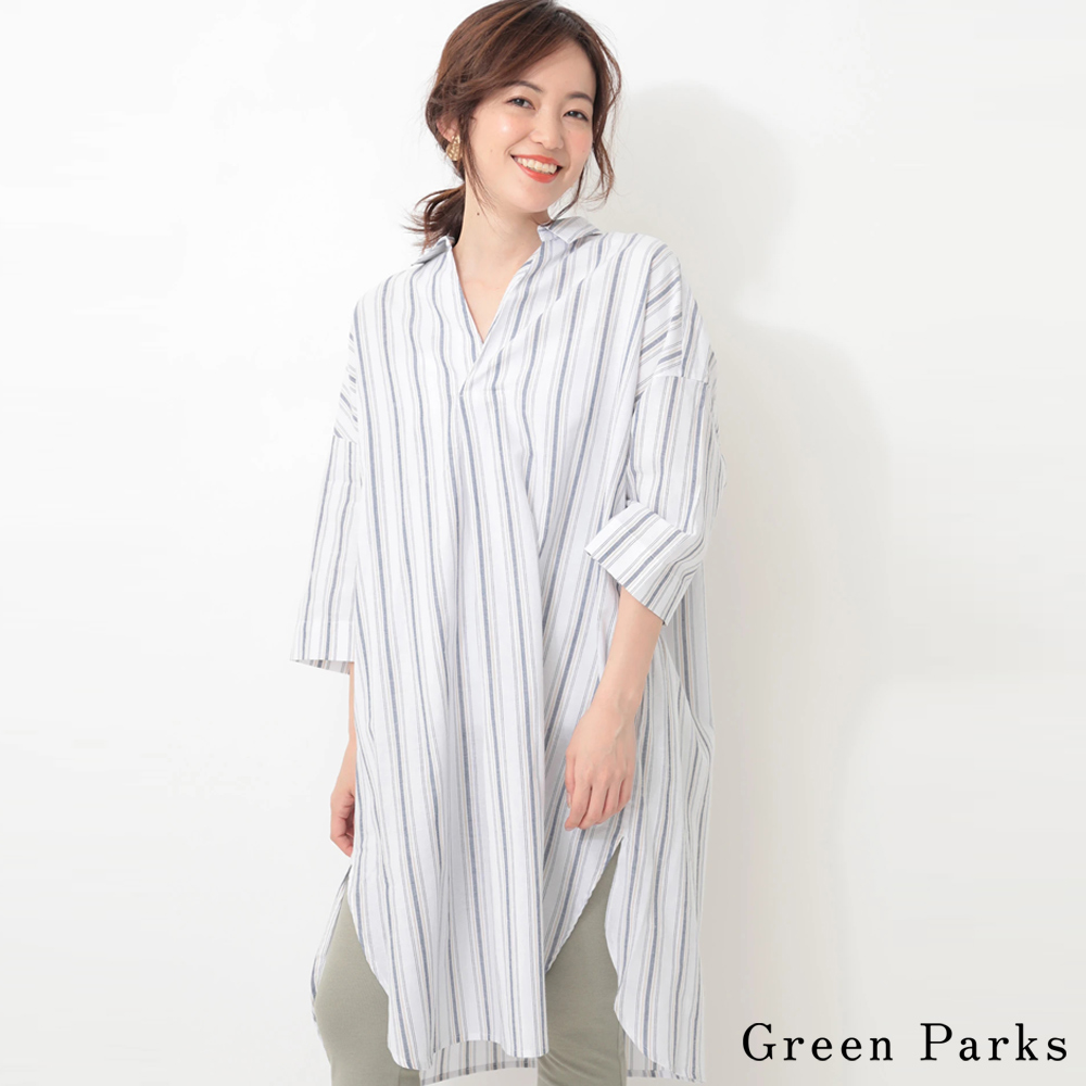 Green Parks 率性七分袖打褶長版襯衫上衣