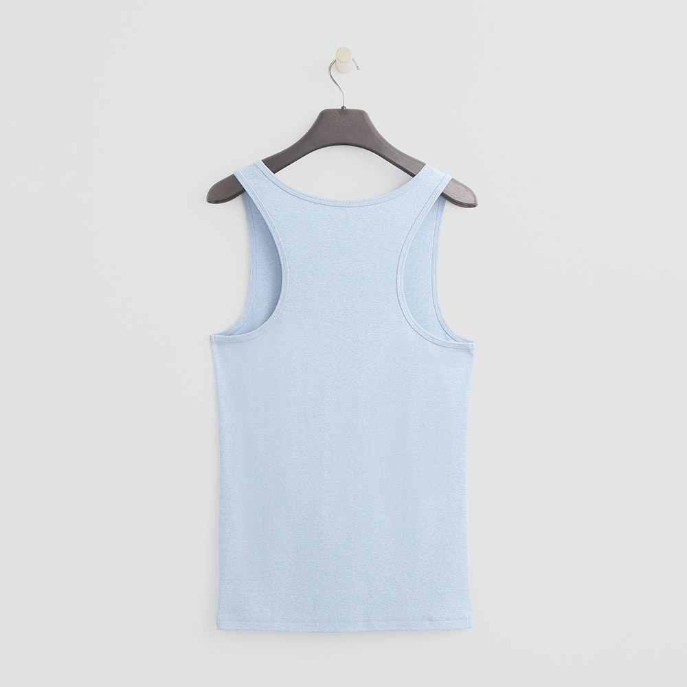 Hang Ten - 男裝 - 有機棉-簡約素色純面棉質背心 - 藍