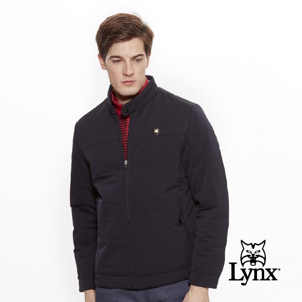 【Lynx Golf】男款防潑水防風保暖菱格紋剪接長袖外套-深藍色
