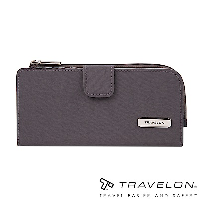 Travelon美國防盜包 RFID BLOCKING拉鍊長夾TL1-43397-19灰