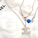 CHANEL 新款香奈兒雙C LOGO 珍珠垂墜式藍珠項鍊 (金色)