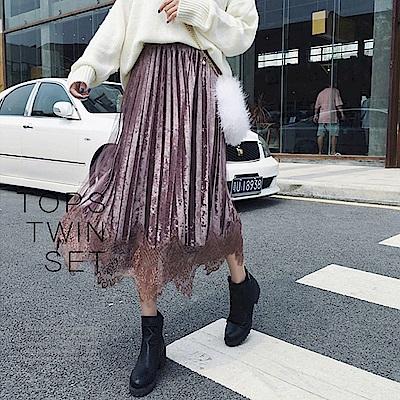 La Belleza假兩件內裡金絲絨百摺裙拼接蕾絲網紗光澤感長裙