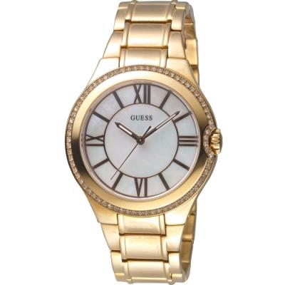 GUESS 珍珠貝錶盤晶鑽手錶-全IP金-GWW15077L1-39mm