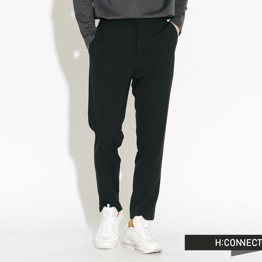 H:CONNECT 韓國品牌 男裝-側腰鬆緊純色西裝褲-黑