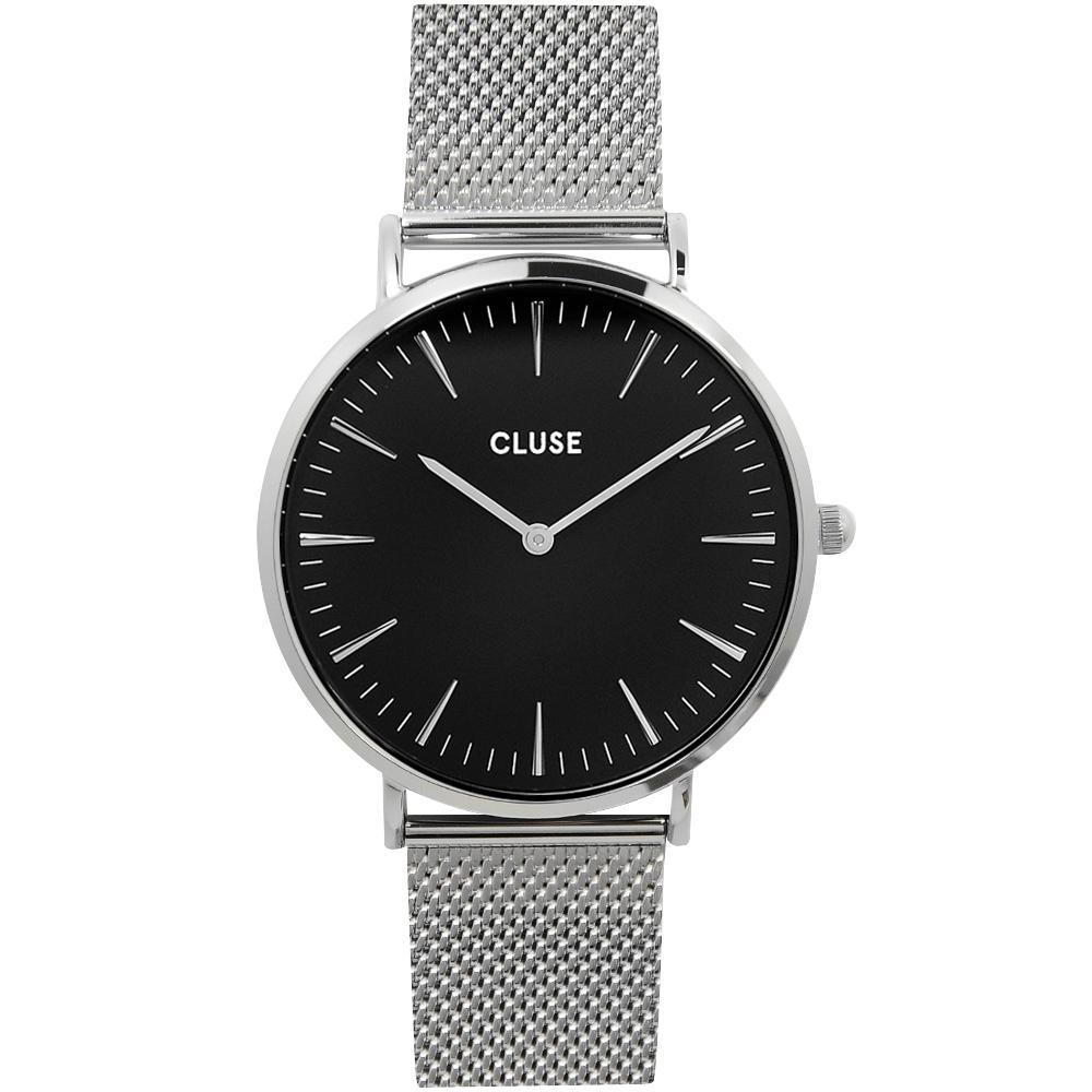 CLUSE荷蘭精品手錶 波西米亞不鏽鋼系列 黑錶盤/銀錶框/銀色金屬錶帶38mm