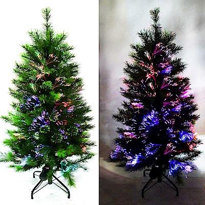 摩達客 科技幻光4尺(120cm)松針+PVC特級混合葉LED光纖綠色聖誕樹