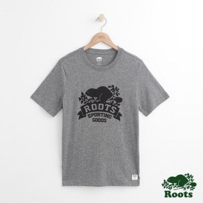 男裝Roots 庫柏旗幟短袖T恤-灰色