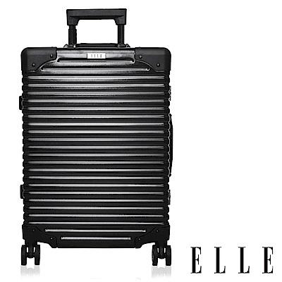 福利品 ELLE 復古假期系列- 28吋霧面裸鑽橫條紋鋁框行李箱-岩墨黑