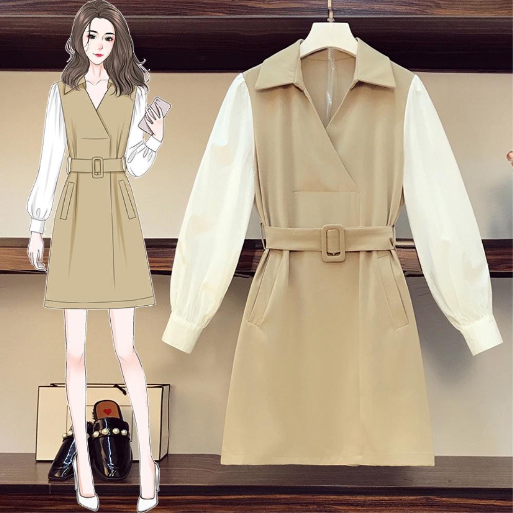 DABI 韓國風名媛氣質大碼方領拼接撞色長袖洋裝