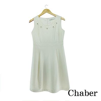 Chaber巧帛 立體釘珠羊毛白洋裝