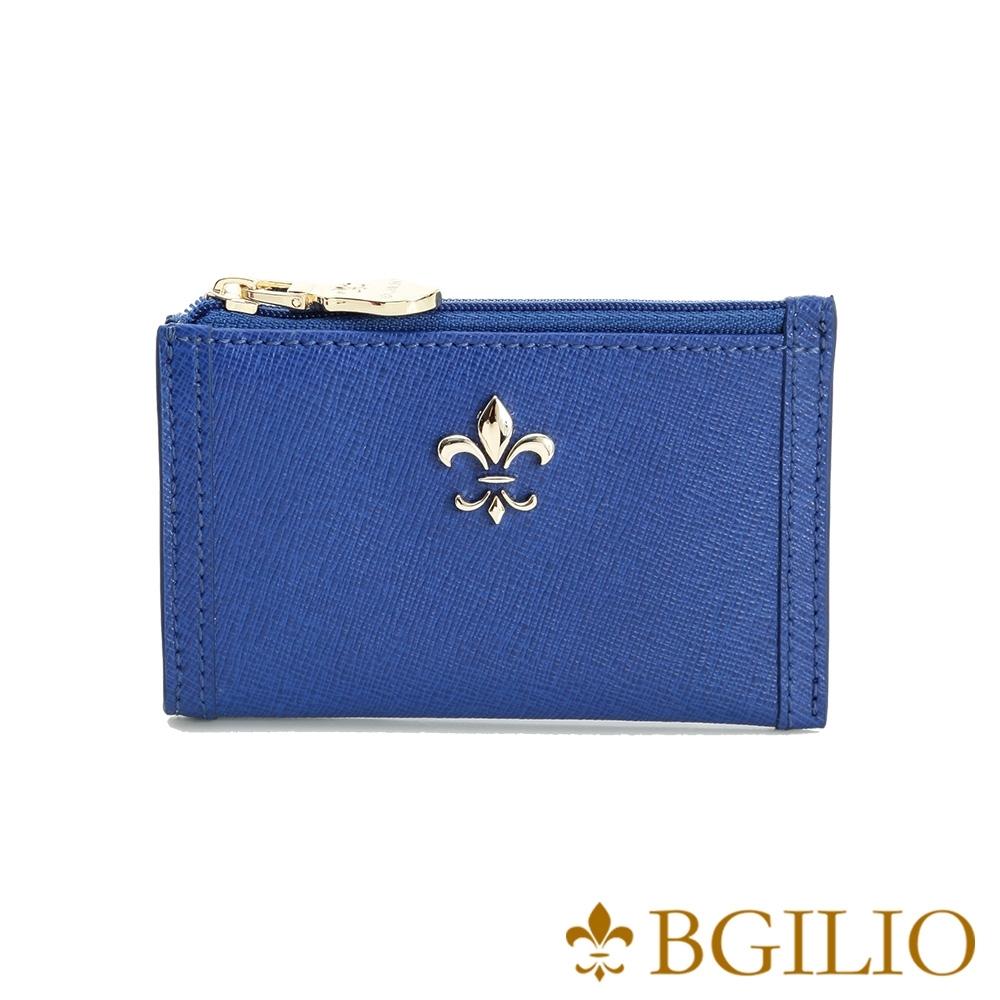 義大利BGilio-十字紋牛皮零錢鑰匙包-藍色 (1736.322A-09)