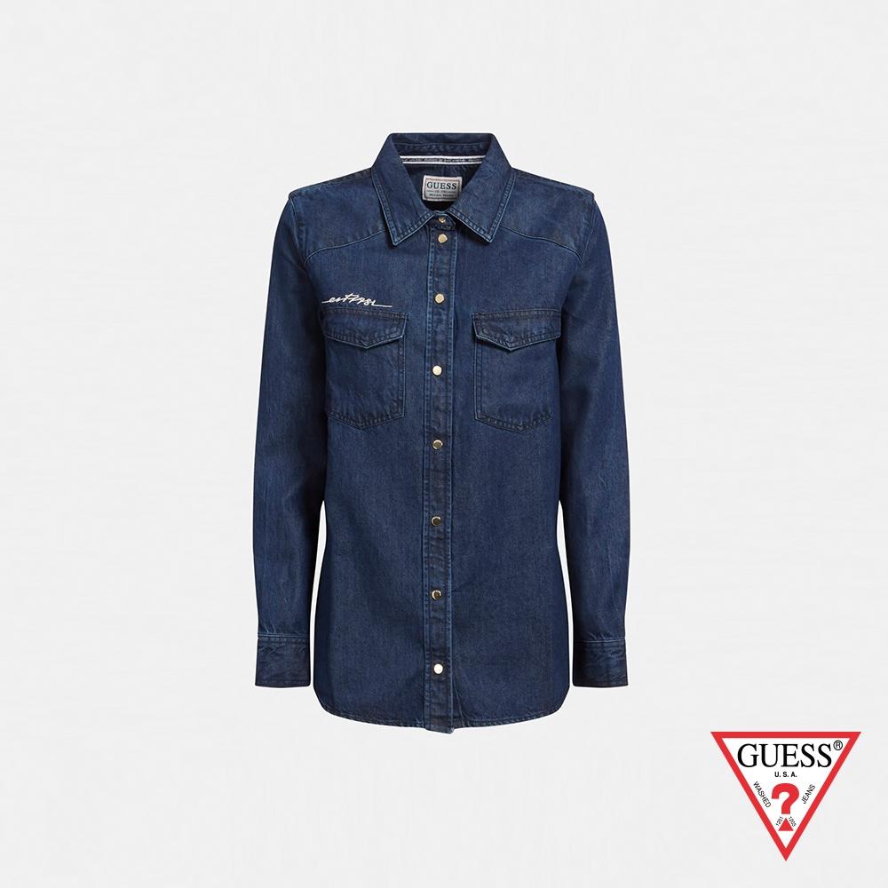 GUESS-女裝-ORIGINAL系列草寫LOGO牛仔長袖襯衫-深藍 原價2490