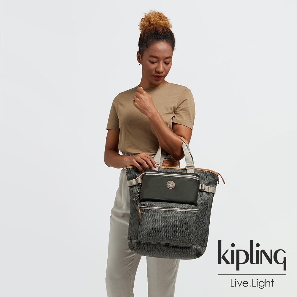 Kipling 沉穩質感綠大容量機能斜背包包-LASLO