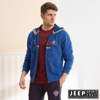 JEEP 美式精緻圖騰連帽刷毛外套-藍色