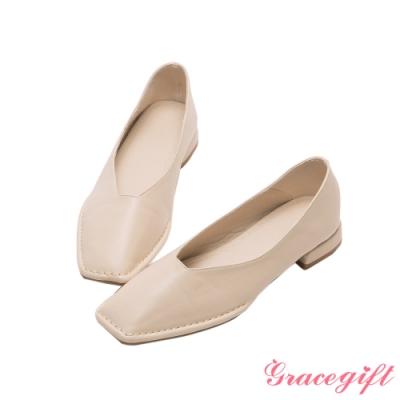 Grace gift-素面方頭車線平底鞋 米白