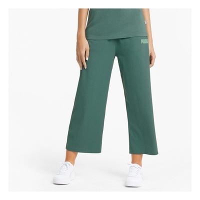 PUMA 基本系列Modern Basics螺紋寬褲 女長褲-綠-58593845