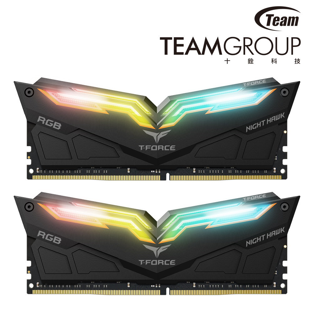 Team十銓 Night Hawk RGB黑色 DDR4-3200 16GB(8GB*2) product image 1