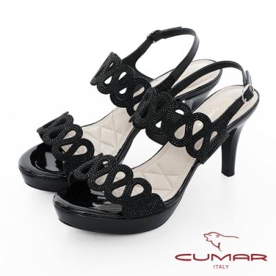 【CUMAR】情迷哈瓦那 - 兩截式一字帶鏤空透膚防水台高跟涼鞋-黑