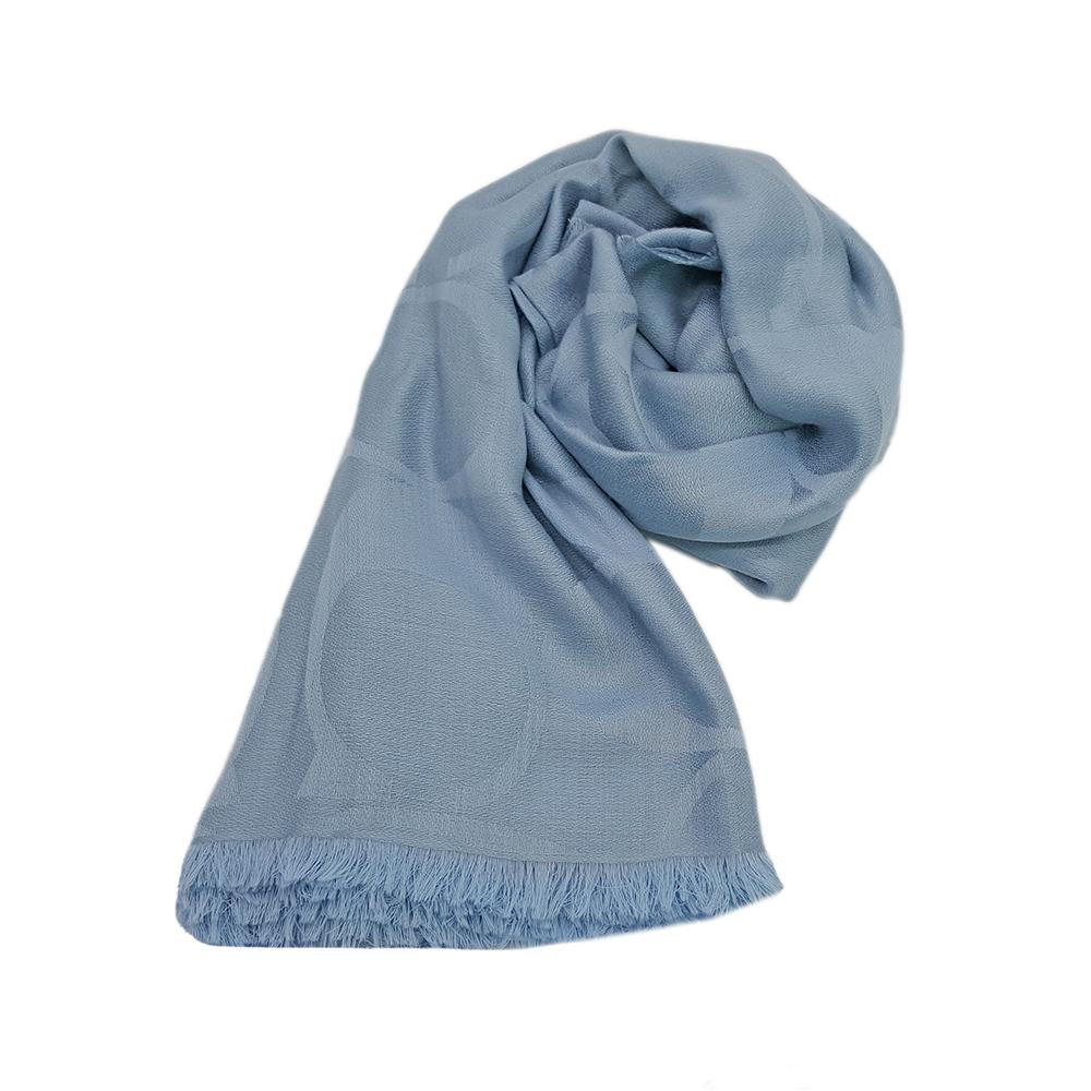 COACH 經典緹花字樣 羊毛混絲流蘇披肩圍巾-粉藍COACH