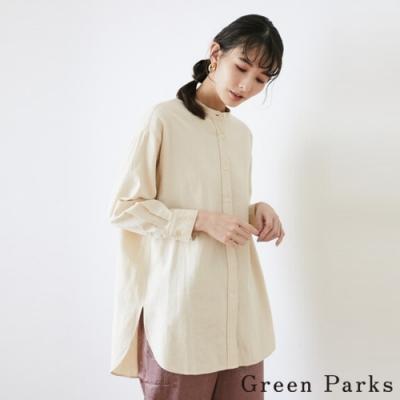 Green Parks 基本款長版側開衩無領純棉長袖襯衫