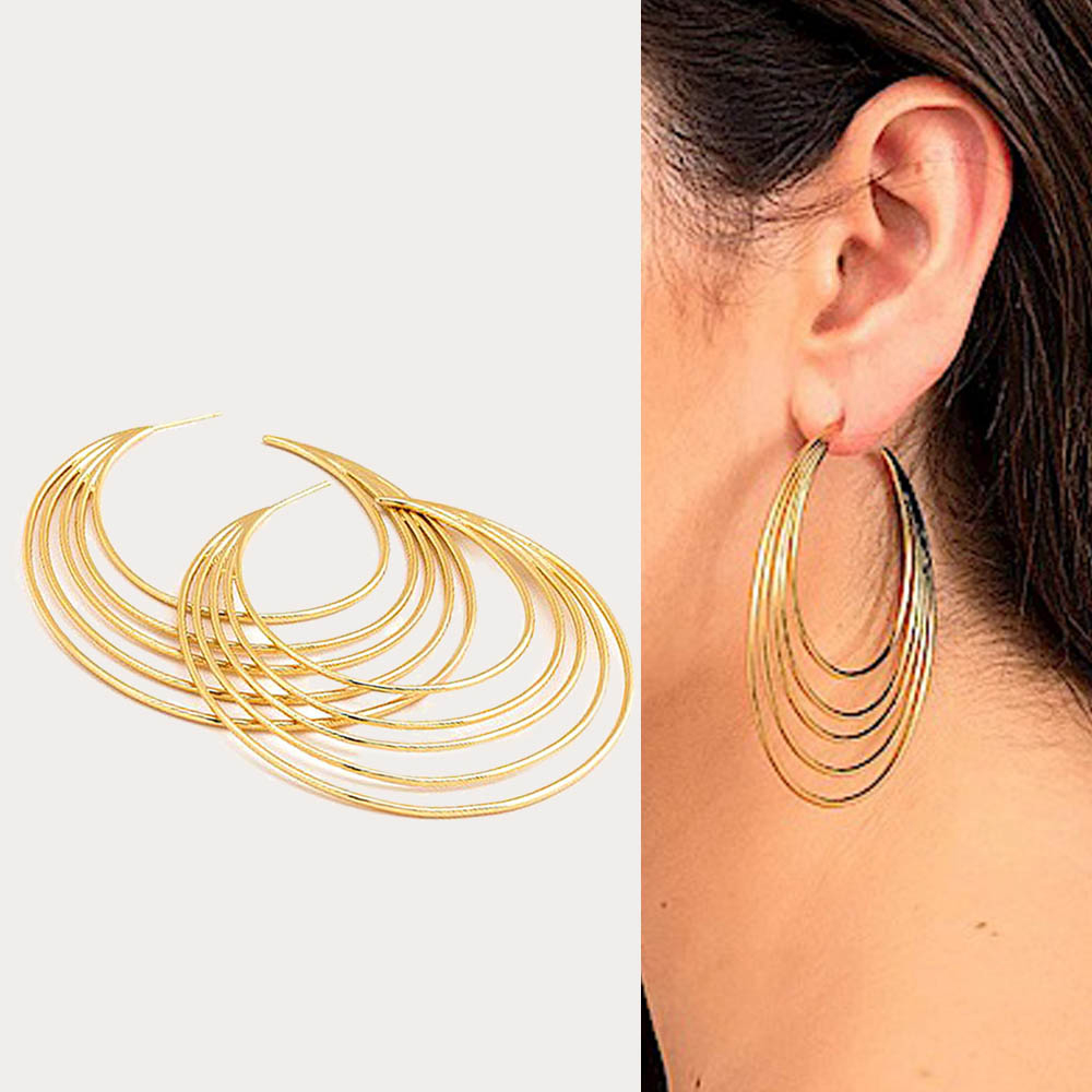 GORJANA 經典大圓耳環 多層次設計 鑲18K金 Casey Hoops