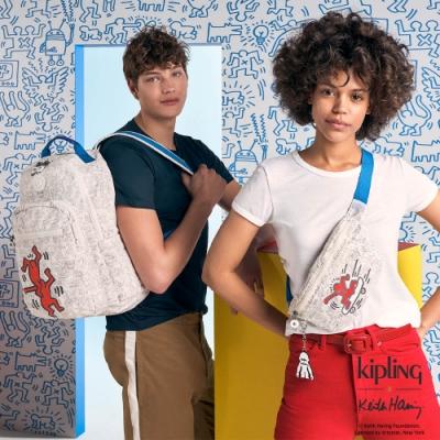Kipling x Keith Haring 限量聯名系列簡潔普普印花潮流隨身腰包-FRESH