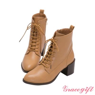 Grace gift-綁帶木紋中跟短靴 淺駝
