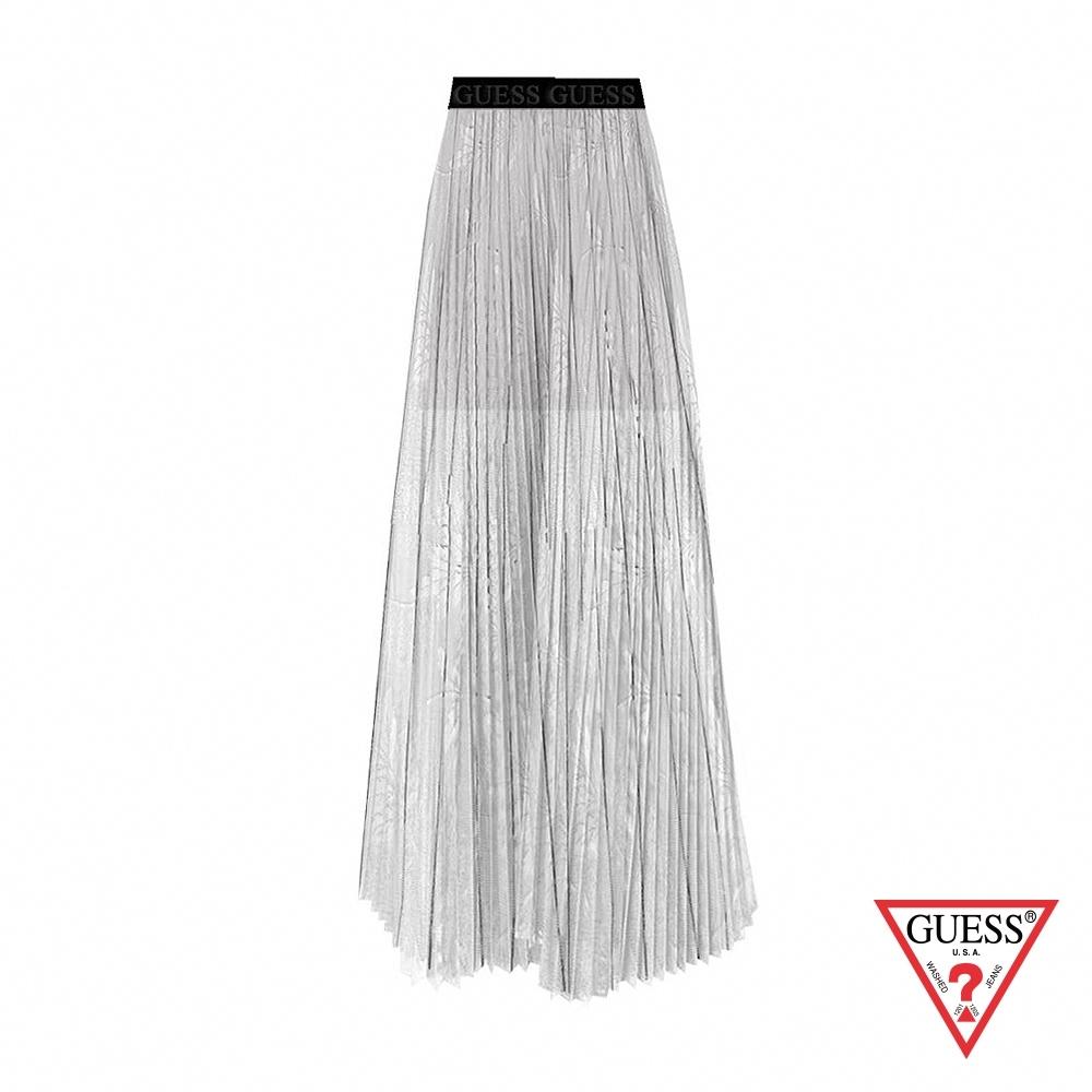 GUESS-女裝-時尚花朵紡紗雙層百折長裙-白 原價2490